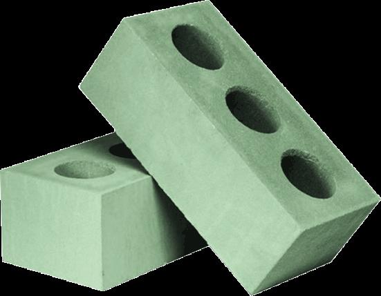 Утолщённый лицевой пустотелый зелёный силикатный кирпич СУЛПУ-M150/F50/1,6