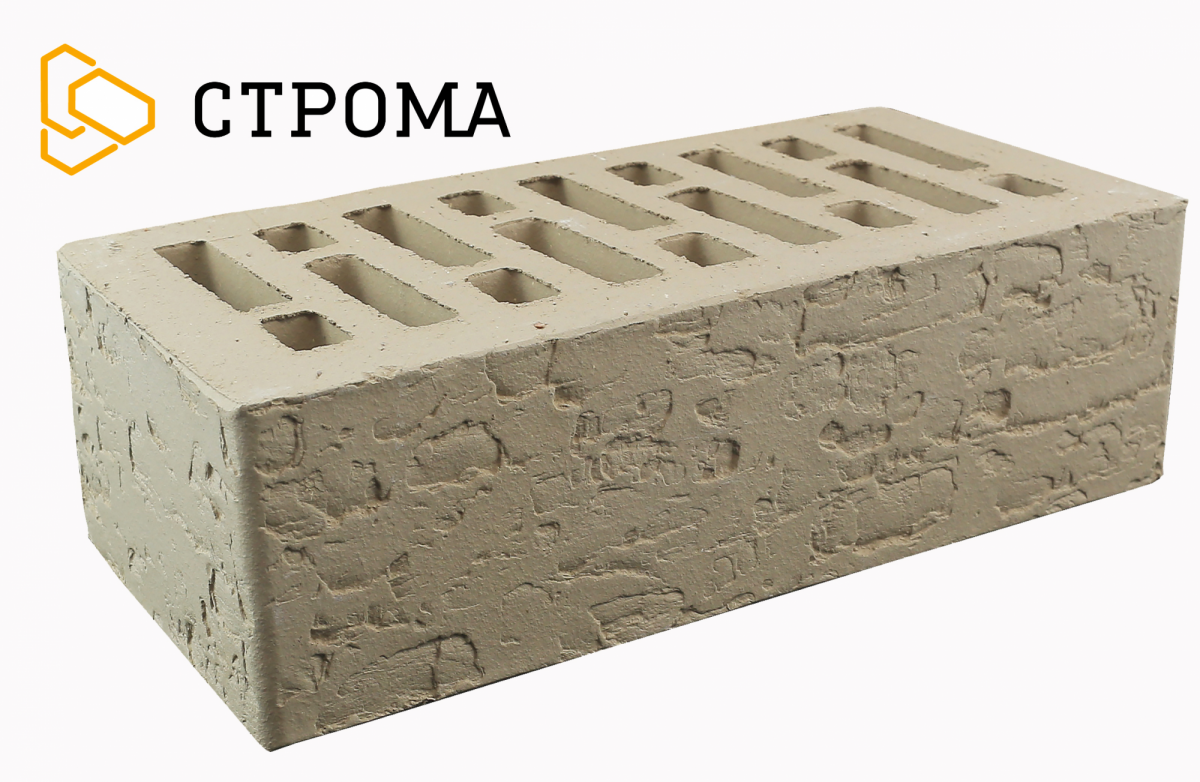 Кирпич лицевой Серебро кора дуба, 1.4НФ, Строма