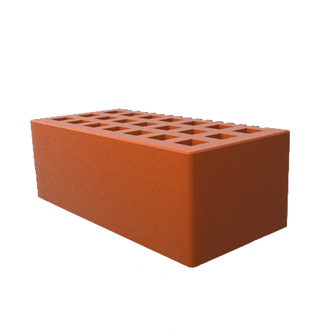Кирпич лицевой пустотелый с фаской 1,4 НФ, красный (гладкий)
